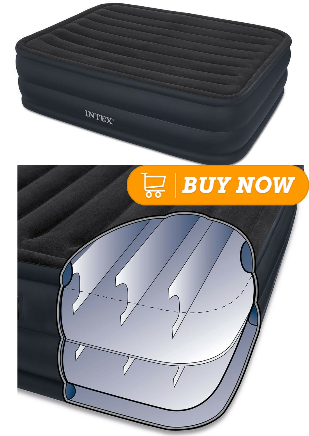 Intex Raised Downy Airbed With Built In Electric Pump Queen Bed