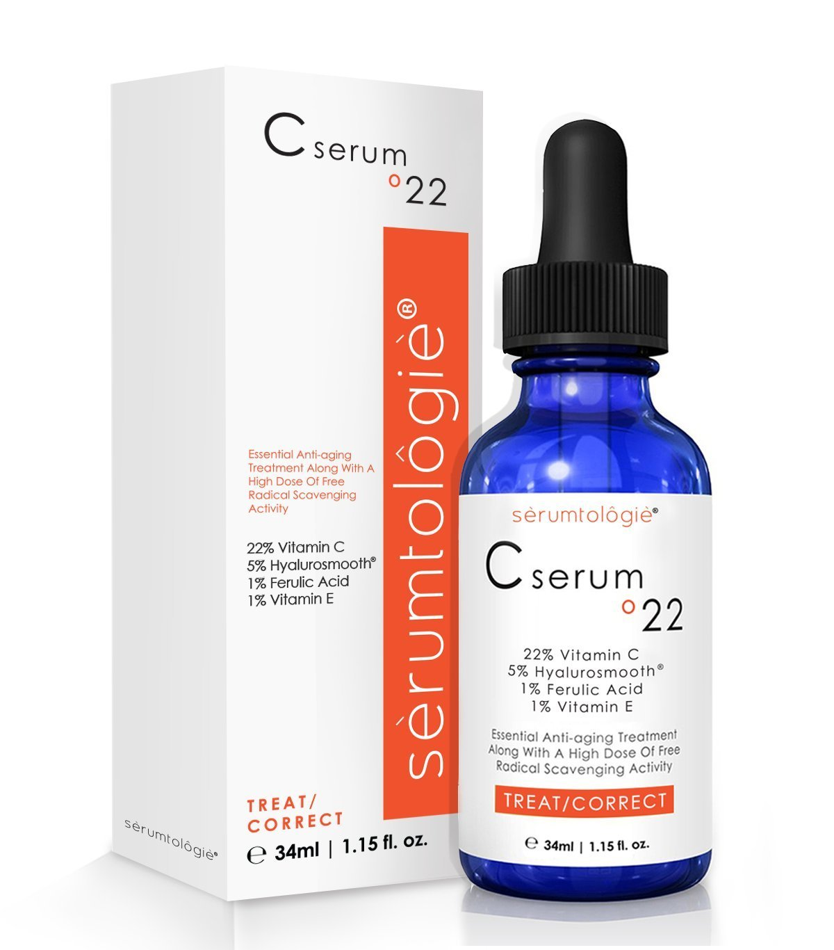 Vitamin C serum for face with Hyaluronic Acid Serumtologie Vitamin C Serum 22%