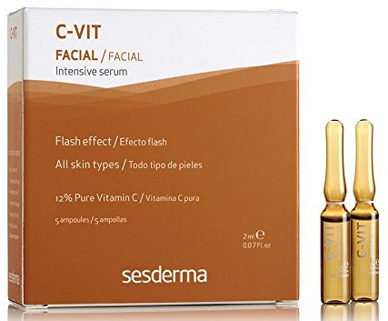Vitamin C serum for face with Hyaluronic Acid Sesderma C-vit Intensive Serum 5 Ampoules 0.07 Ounce