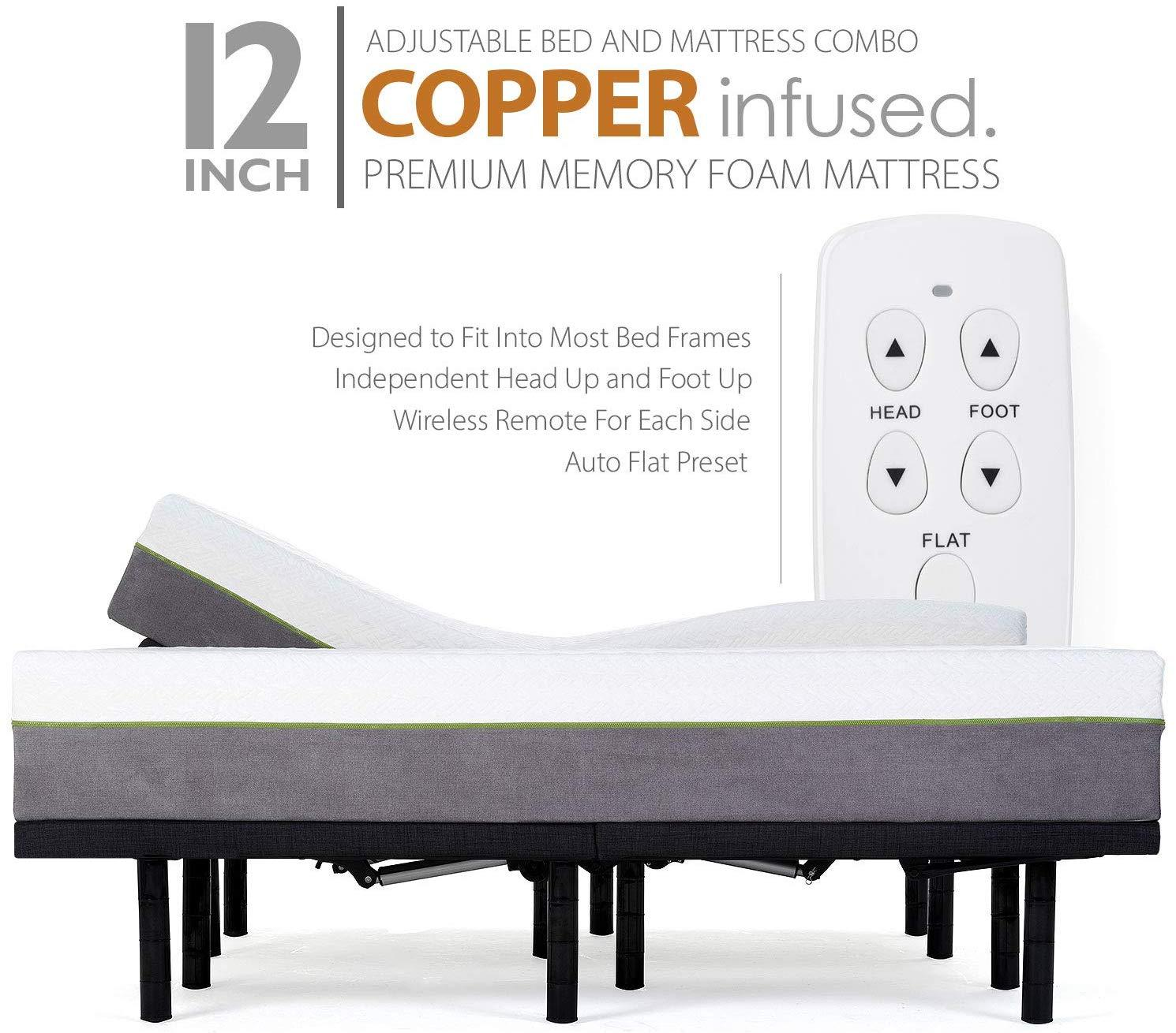 Adjustable Bed Frame and 12 Inch Split King Copper Infused Cool Memory Foam Mattress
