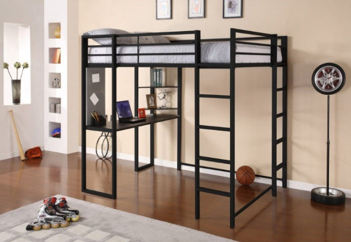 Best Bunk Beds DHP Abode Full-Size Loft Bed Metal Frame with Desk and Ladder
