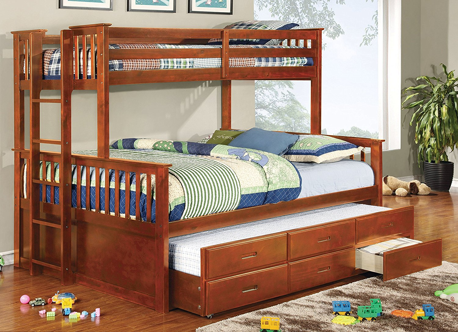 Best Bunk Beds Furniture of America Pammy Twin over Queen Bunk Bed