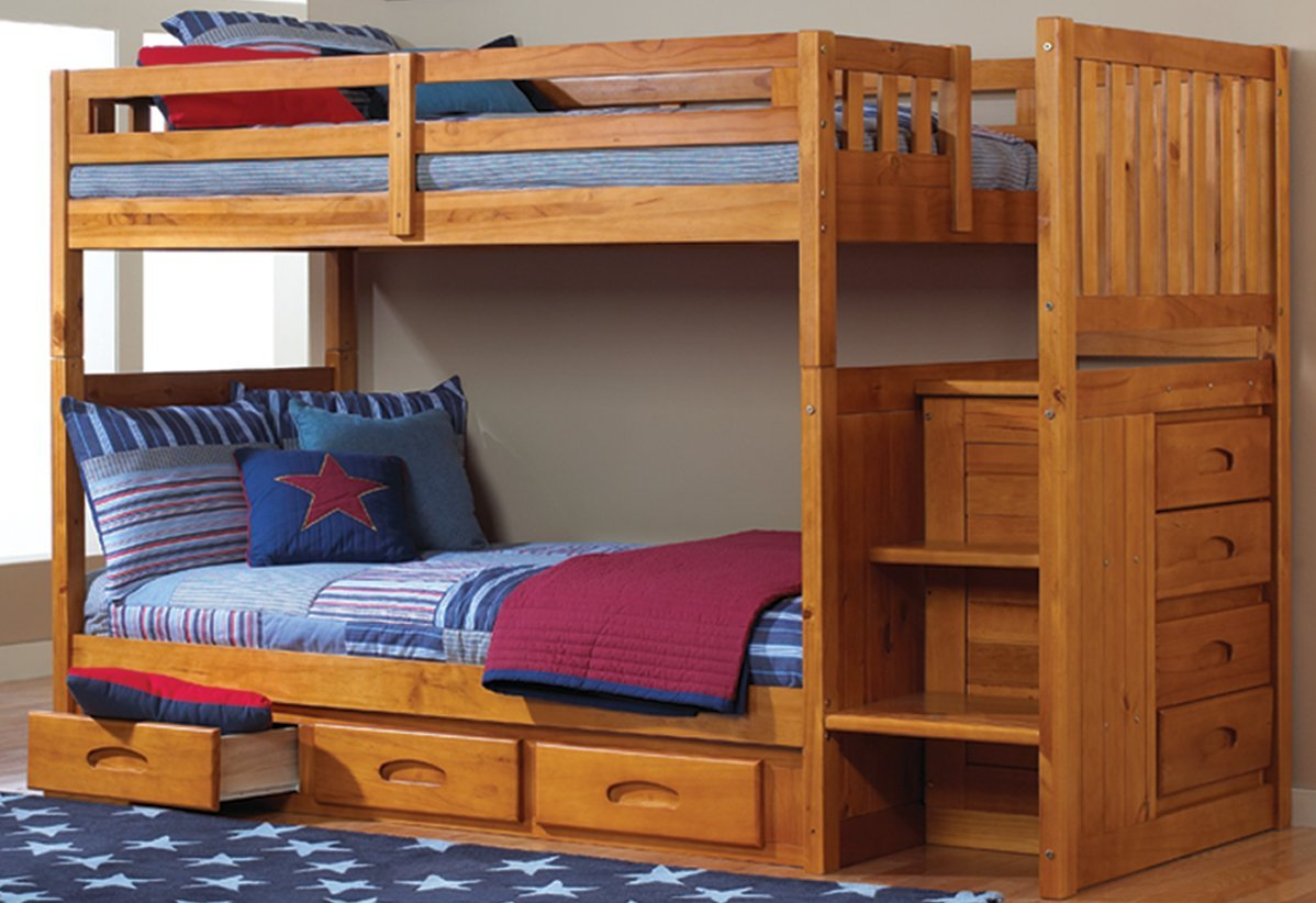 Best Bunk Beds Mission Twin Over Full Staircase Bunk Bed with Trundle in Honey Finish