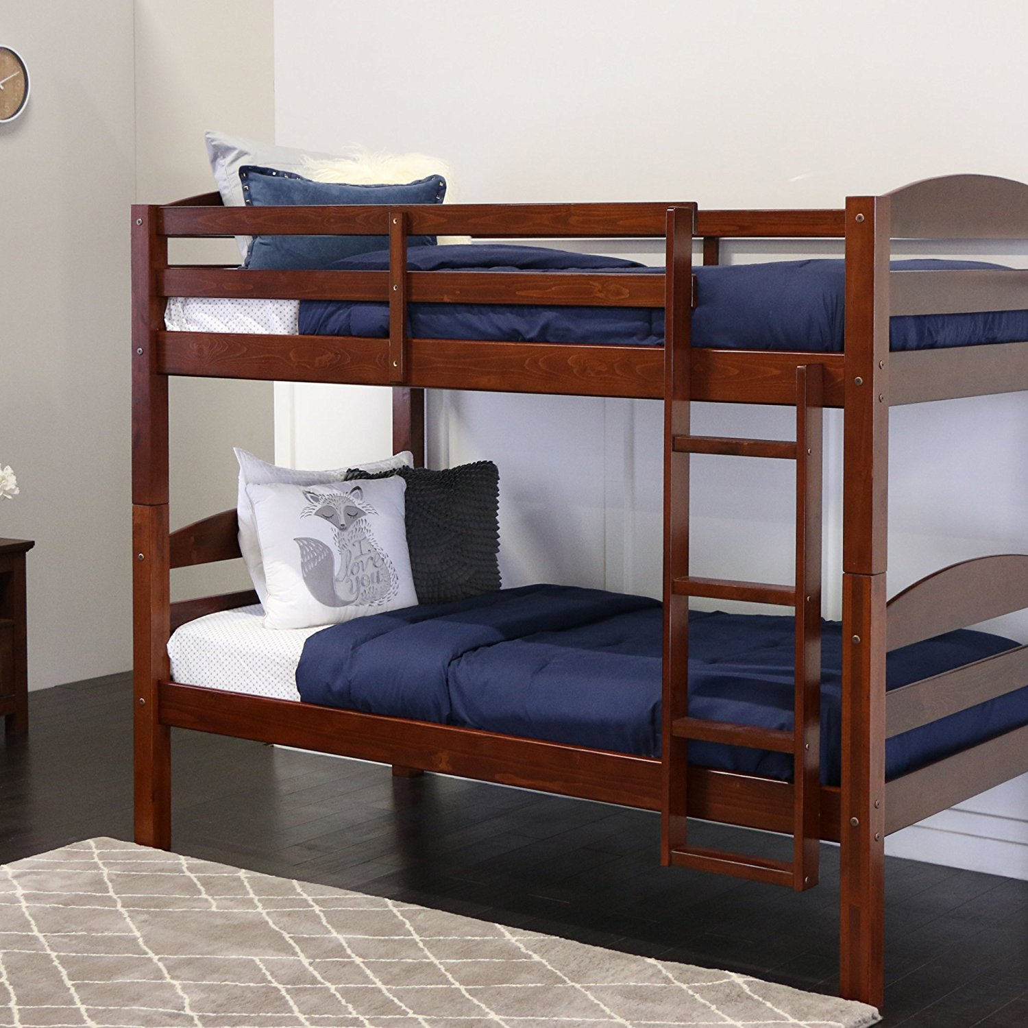 Best Bunk Beds Walker Edison Solid Wood Twin over Twin Bunk Bed
