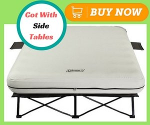 Best Camping Air Mattresses Coleman Queen Airbed Cot with Side Tables and 4D Battery Pump