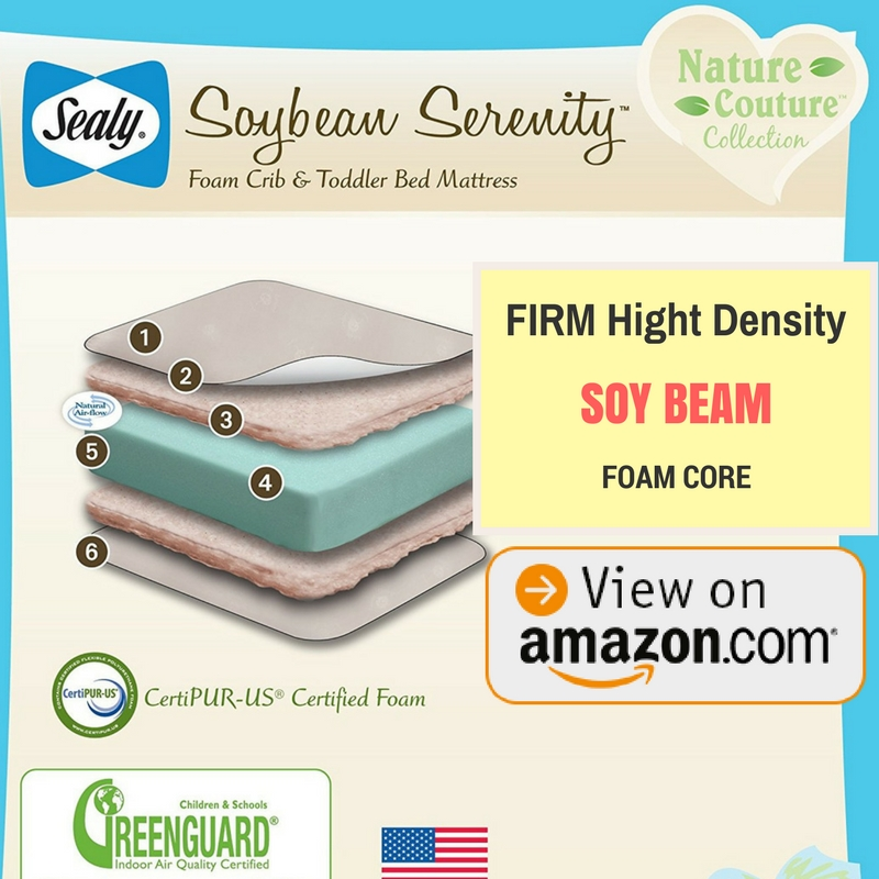 Best Crib Mattress Sealy Soybean Serenity Foam-Core Infant Toddler Crib Mattress - Hypoallergenic Soy Foam