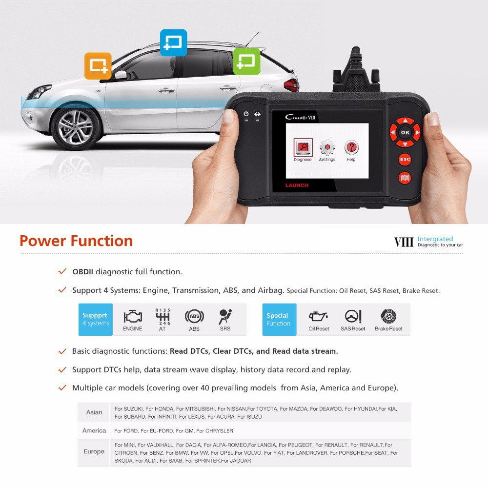 Best OBD 2 Scanner - Launch X431 OBD2 Scanner Viii Vehicle Code Reader Auto Scan Tool for ENG AT ABS SRS EPB SAS Oil Service Light Resets
