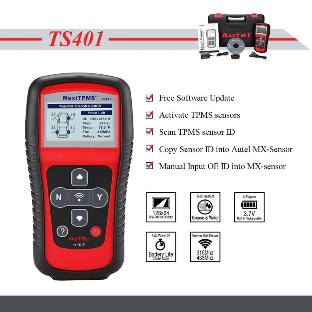 Best OBD 2 Scanners - Autel TS401 MaxiTPMS Activation Tool with MX-sensor Programming Service
