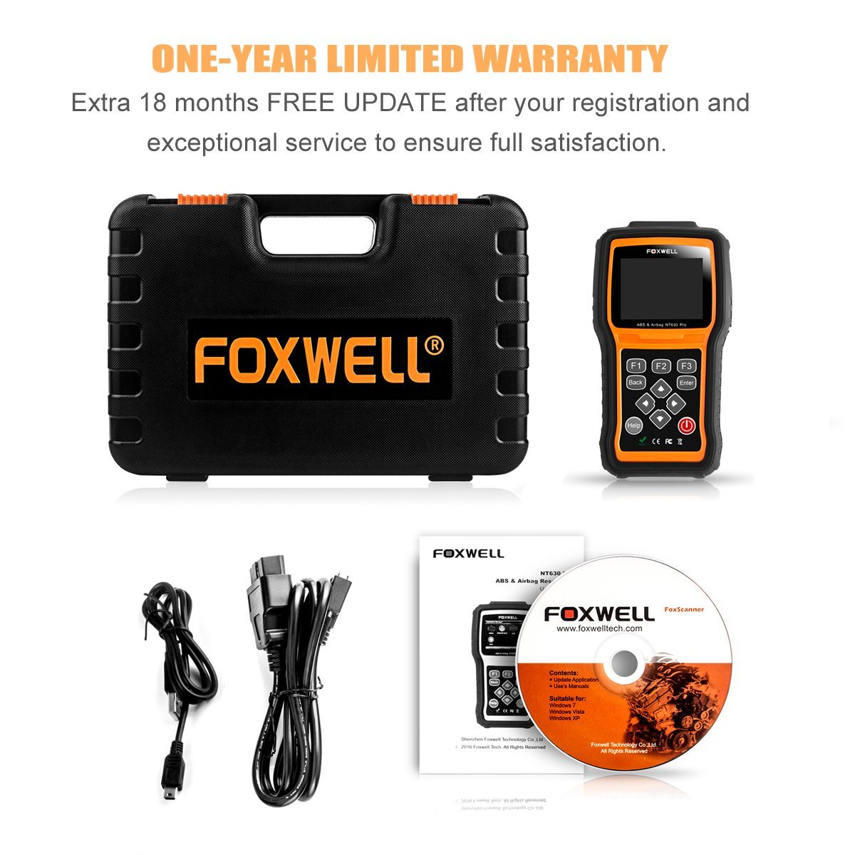 Best OBD 2 Scanners - FOXWELL NT630 Scan Tool Engine ABS Airbag SAS Crash Data Reset Tool Code Reader Car Diagnostic Scanner