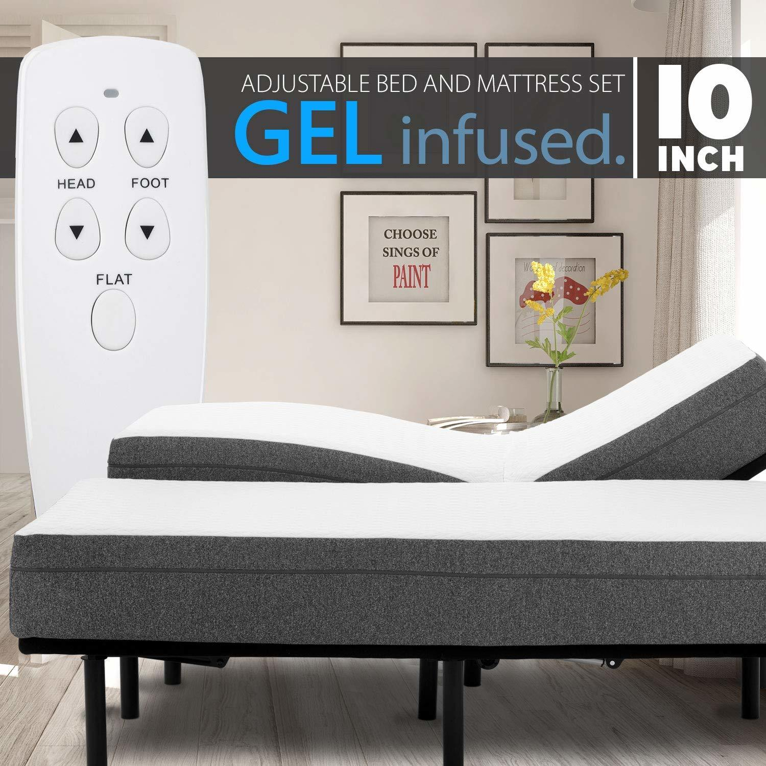 Blissful Nights 10 Inch Gel Infused Medium Firm Memory Foam Mattress with Adjustable Bed Frame Combo