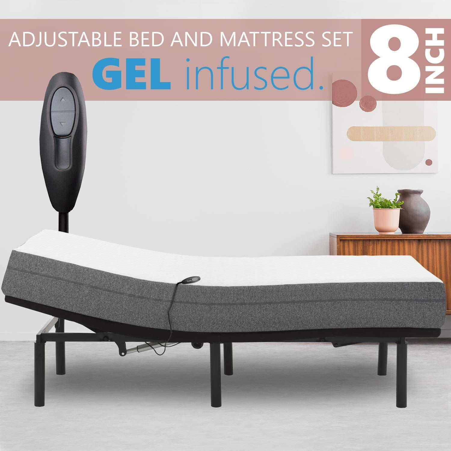 Blissful Nights Adjustable Bed Frame with 8 inch Firm Gel Infused Memory Foam Mattress