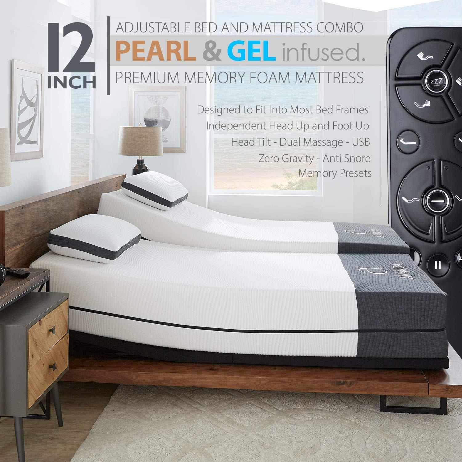 Blissful Nights Ananda 12 inch Pearl and Cool Gel Infused Memory Foam Mattress with Premium Adjustable Bed Frame Combo