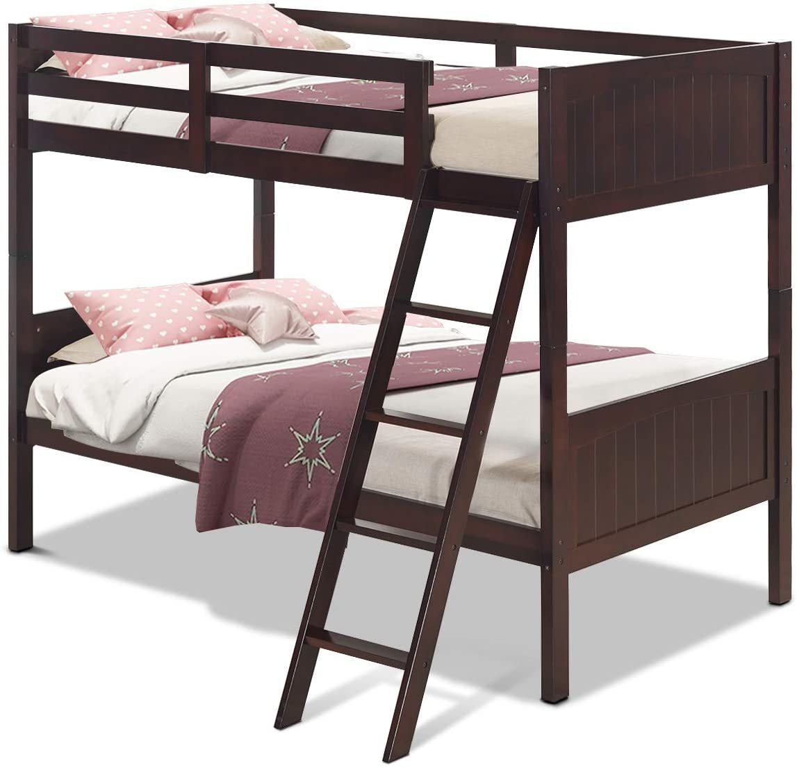 Bunk Beds Under $100 $150 $200 & $300 - Costzon Wooden Convertible Bunk Bed – Twin-over-twin