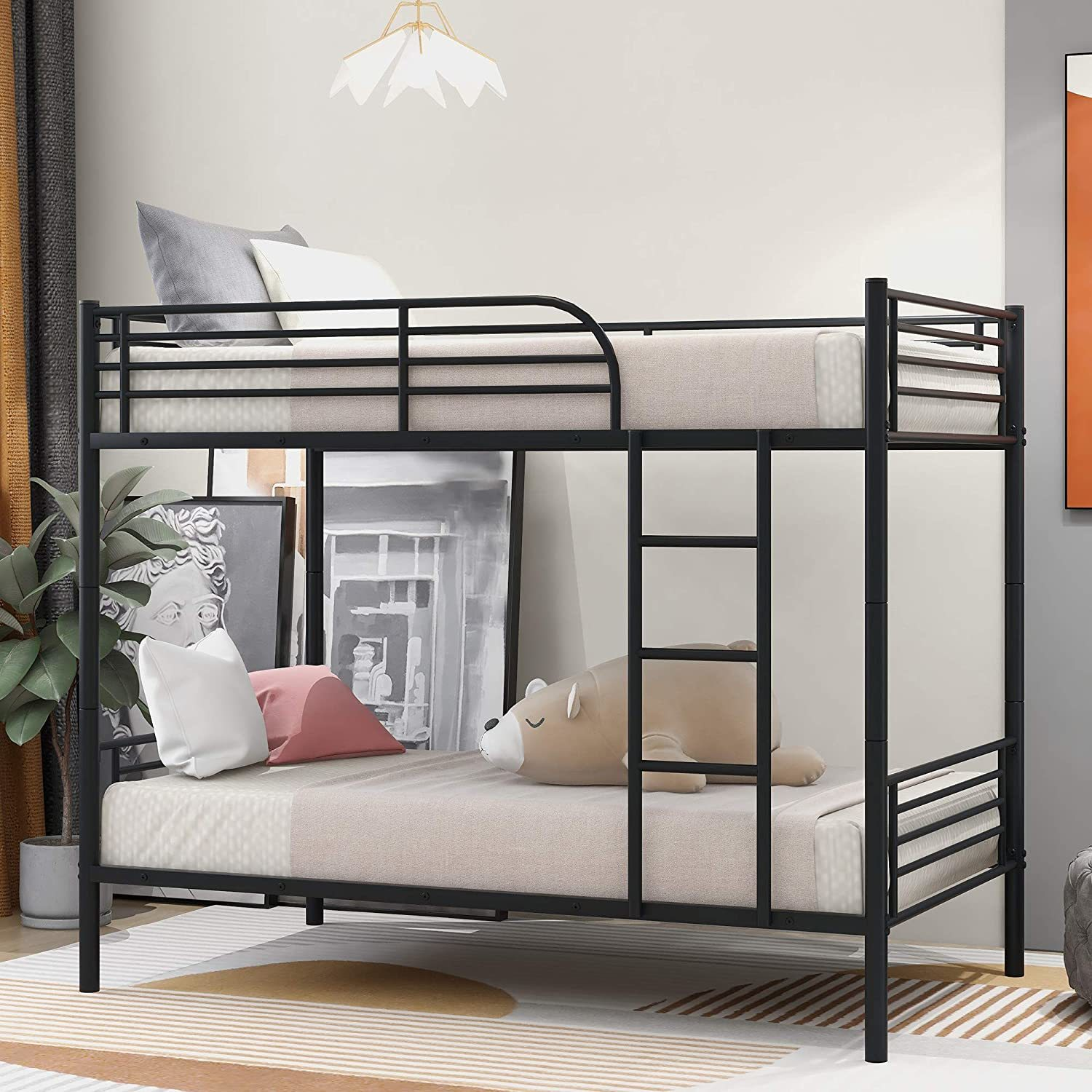 Bunk Beds Under $100 $150 $200 & $300 - JULYFOX Modern Metal Bunk Bed – Twin-over-twin