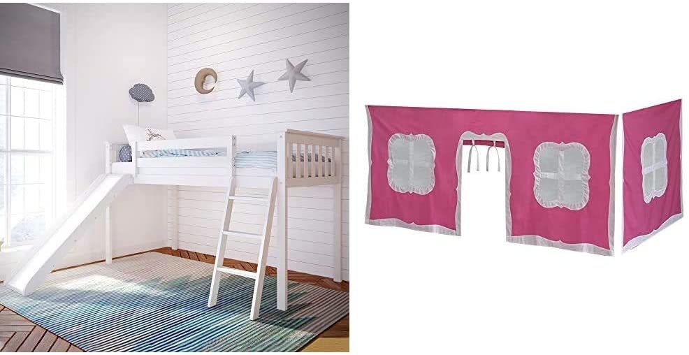 Bunk Beds Under $100 $150 $200 & $300 - Max & Lily Solid Wood Twin-Size Low Loft Bed With Slide