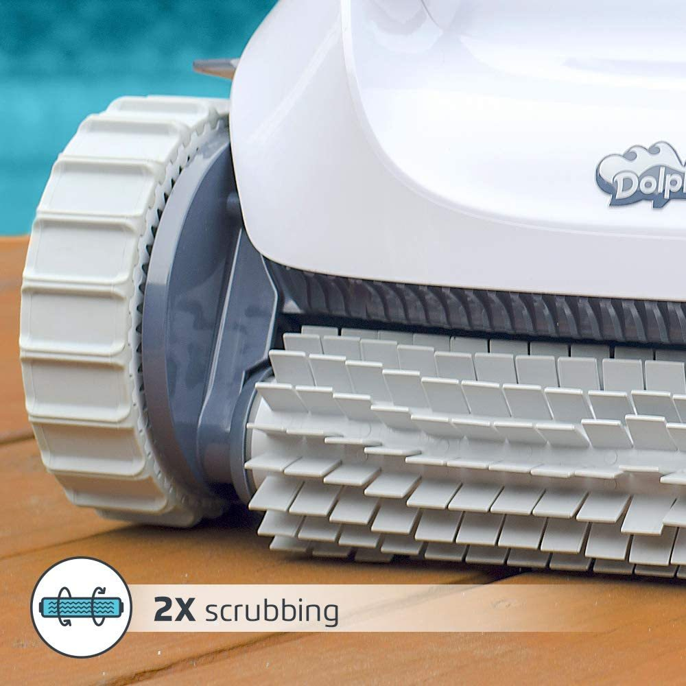Dolphin E10 Automatic Robotic Pool Cleaner Review - Brushes and scrubbing