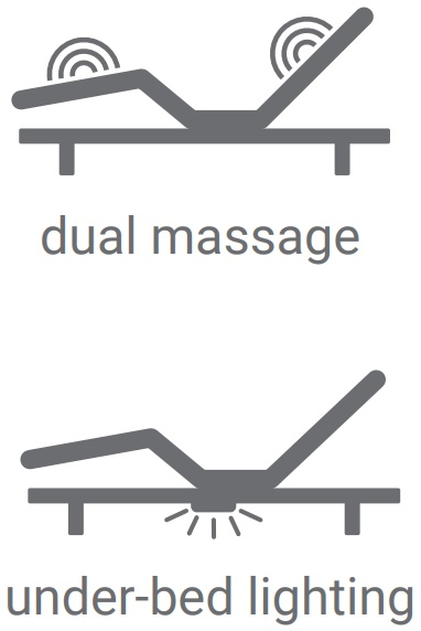Dual Massage and Under the bed lighting Leggett & Platt Prodigy 2.0 Split Adjustable Bed