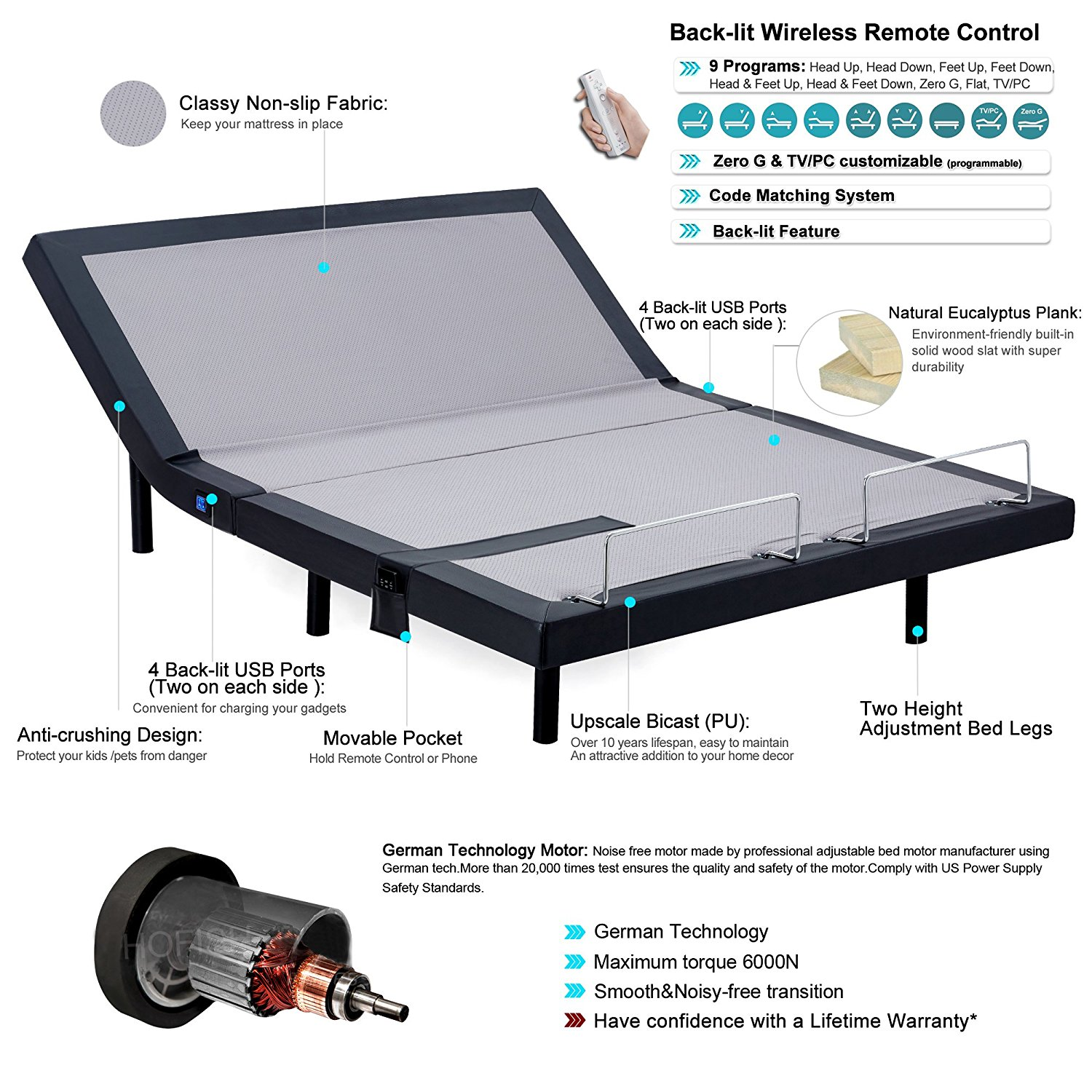 Hofish Adjustable Bed Review Features
