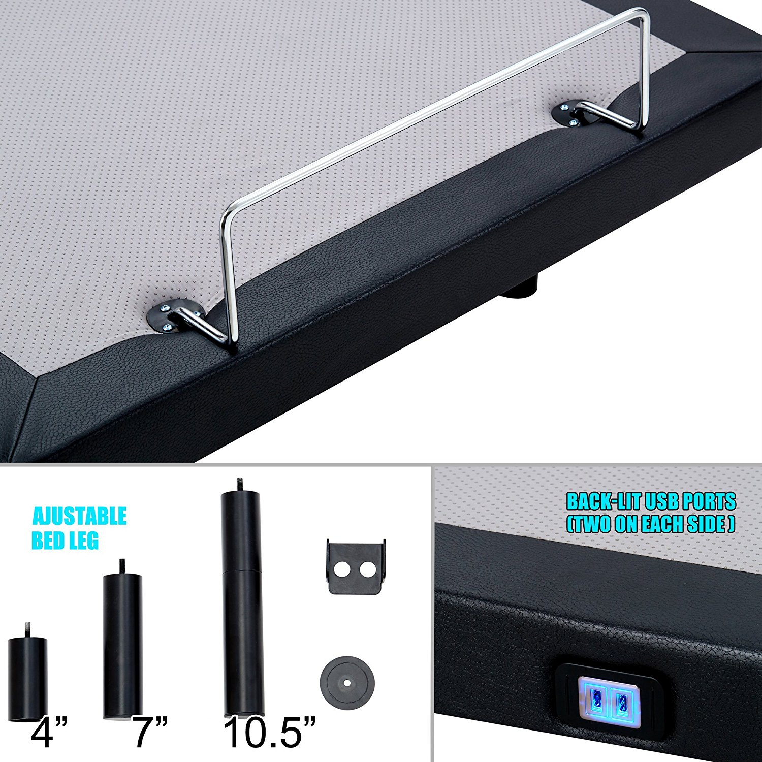 Hofish Adjustable Bed Review USB Ports Mattress Retention System & Height Adjustable Legs