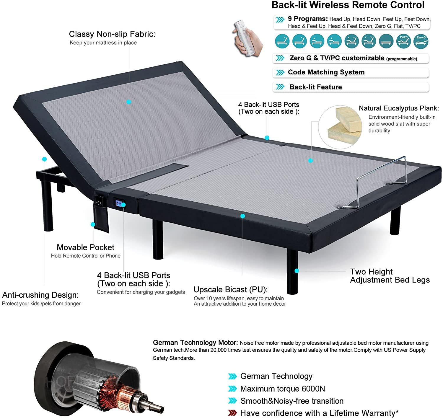 Hofish Bed Base - Best Adjustable Beds for Back Pain
