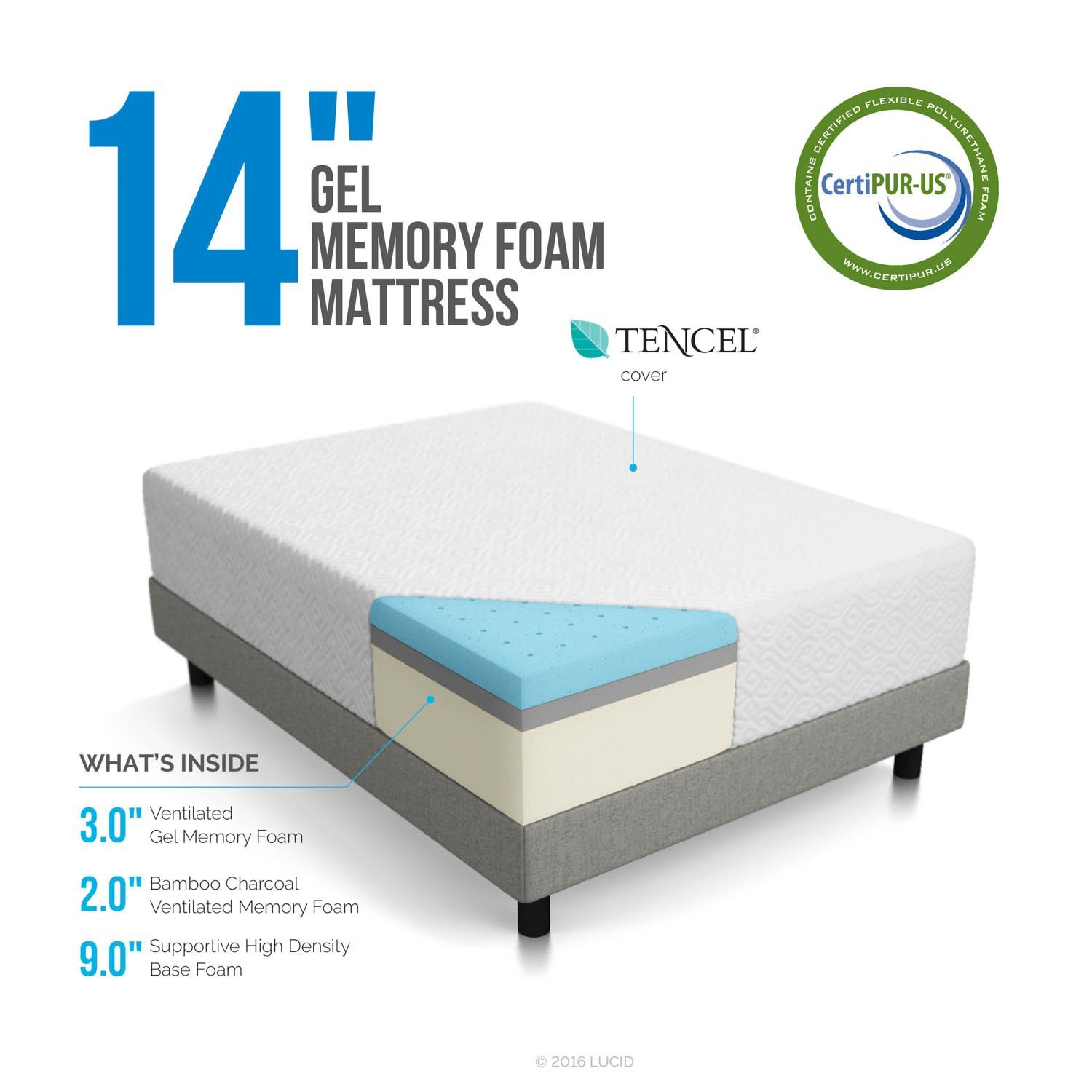 memory foam mattress box. LUCID 14 Inch Memory Foam Mattress Box