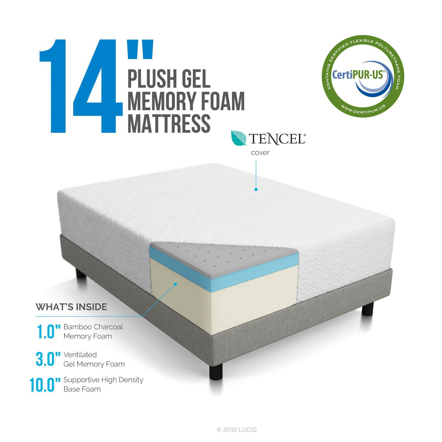 lucid memory foam mattress review – 10 inch, 12 inch & 14 inch