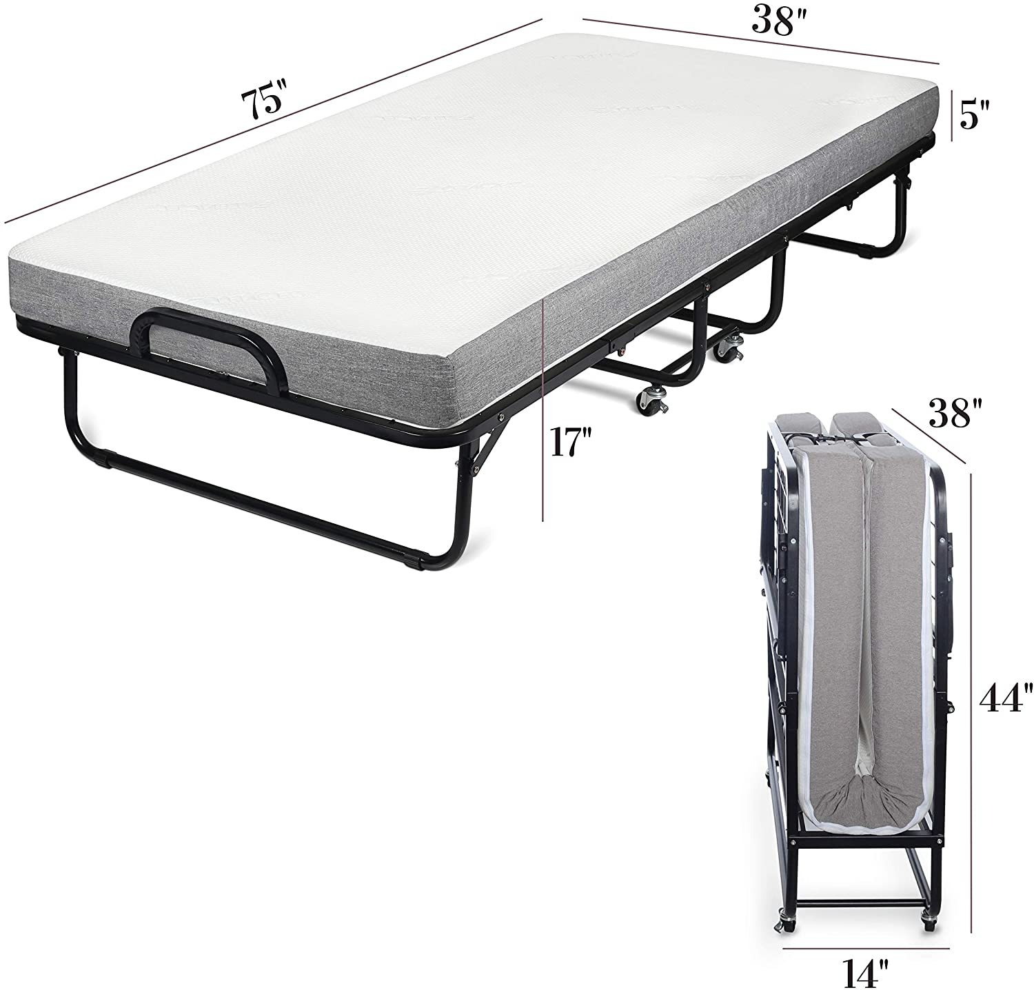 Milliard Diplomat Folding Bed - Size and Dimensions