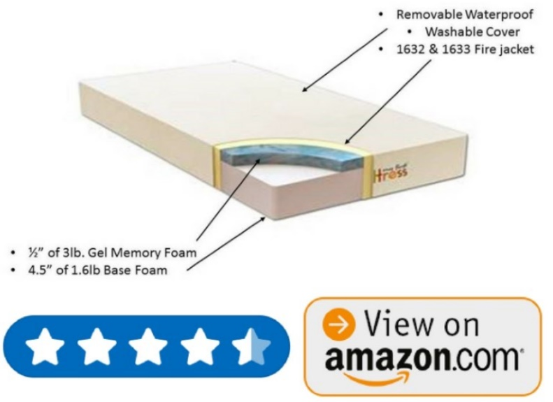 My First Premium Memory Foam Hypoallergenic Baby Crib Mattress with Plush Removable Waterproof Cover