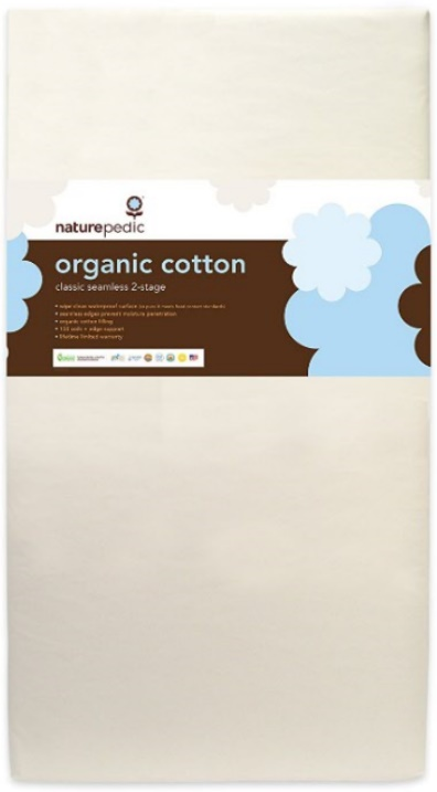 Naturepedic No Compromise Organic Cotton Classic 150 Seamless Dual Firmness Crib Mattress