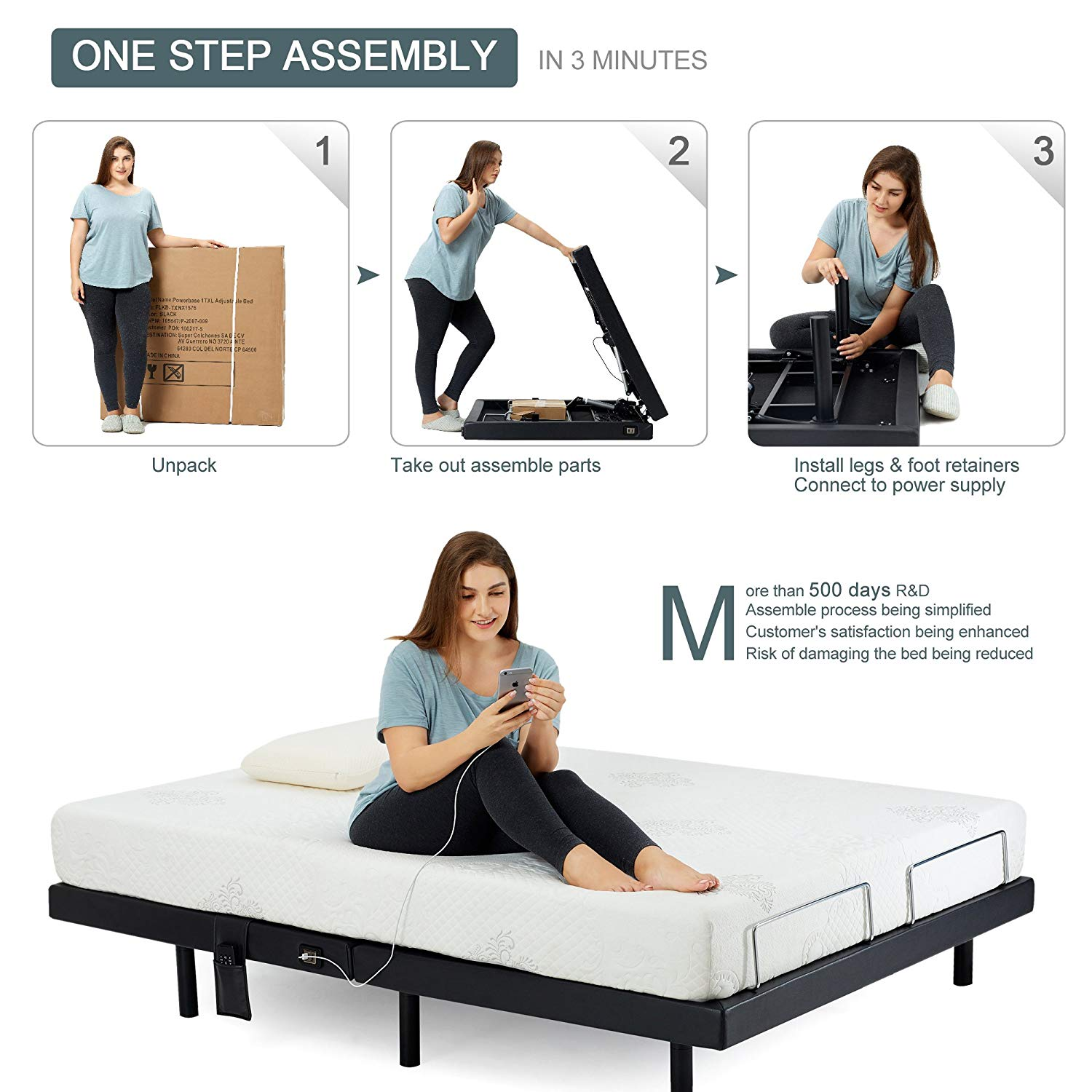 Split King Adjustable Beds Reviews -Hofish 1-Step assembly